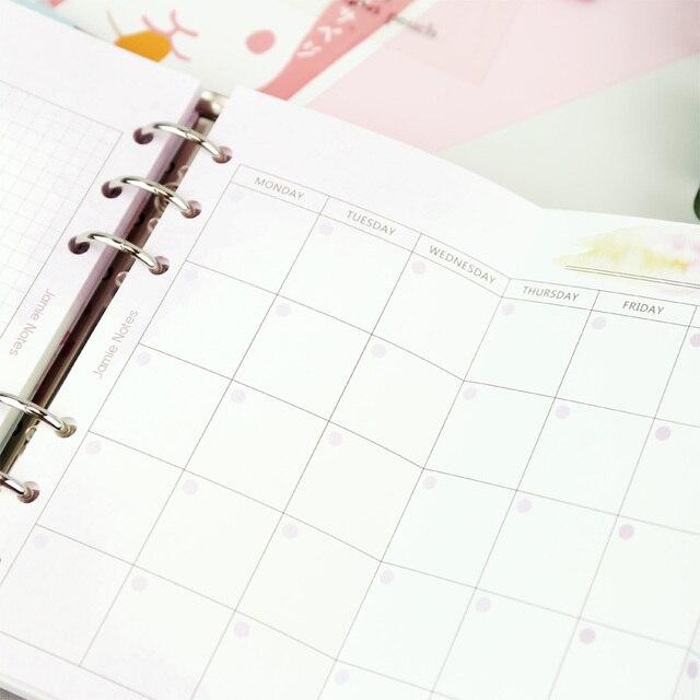 MyPretties fantaisie mensuel planificateur recharge papiers A5 A6 trois fois remplisseur papiers pour 6 trou classeur organisateur cahier papiers