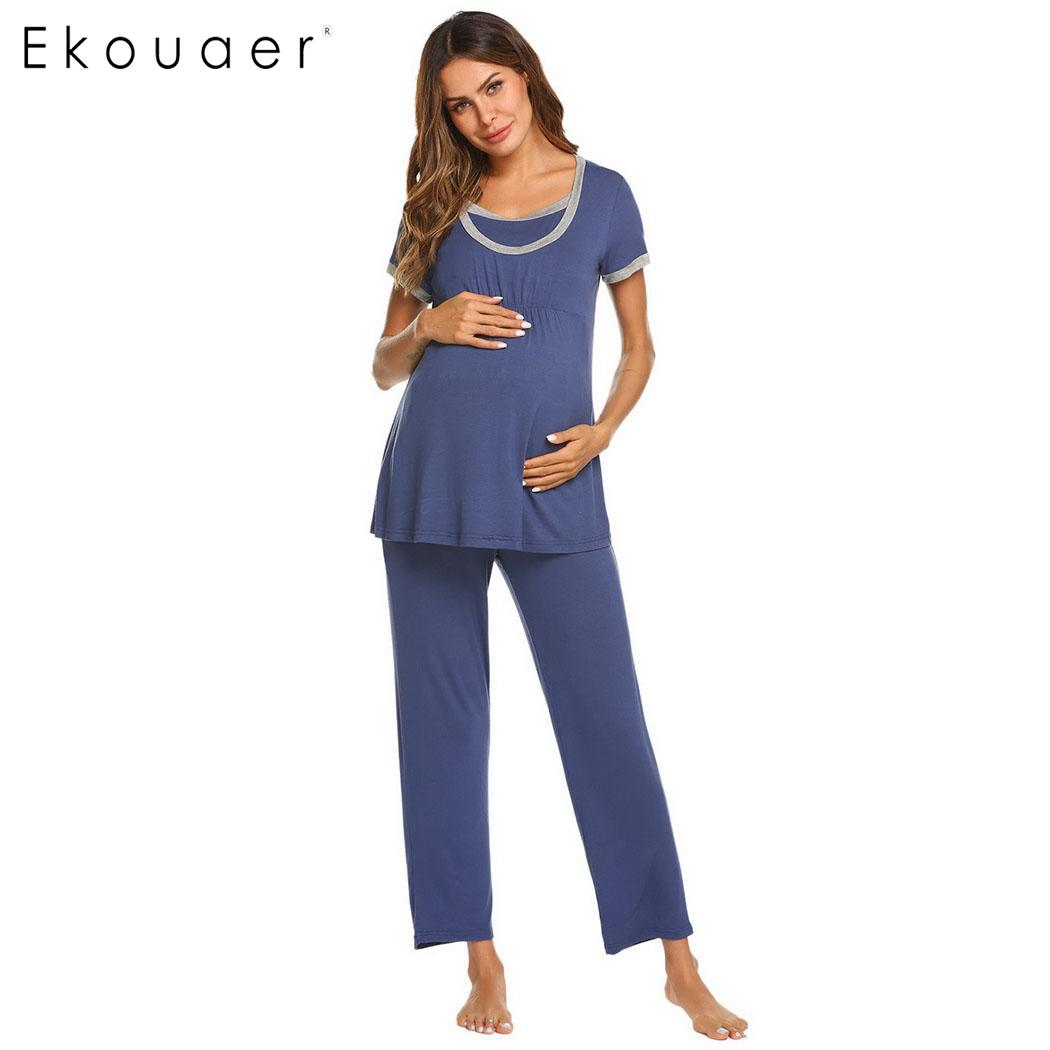 Ekouaer Women   Pajama     Sets   Nightwear Maternity Pregnant Breastfeeding Sleepwear   Set   Solid Women Short Sleeve Long Pants   Pajamas