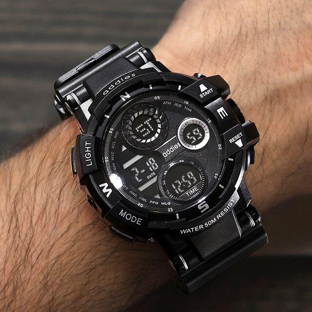 Homens rapaz Digital relógio militar campo ao ar livre exploração grande Dial 50m impermeável alarme LED Backlight Super legal relógio esportivo