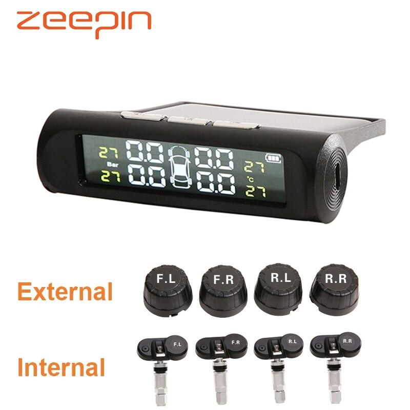 Smart TPMS Solar Power USB Charging External Internal Sensor Car Tire Pressure Monitoring System Realtime Alarm for SUV Vehicles(China)