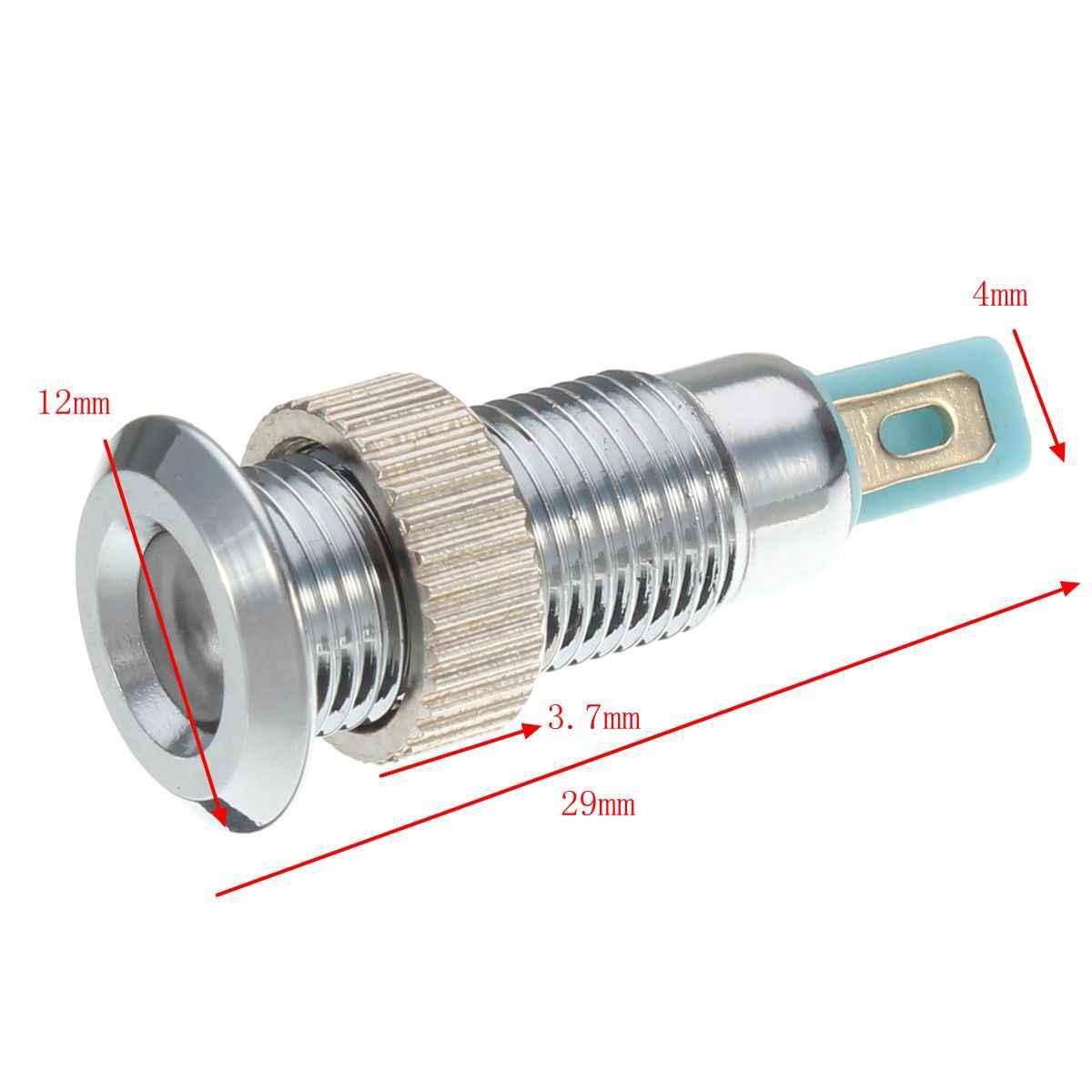 Universal 6 V 8 Mm Logam LED Dash Panel Peringatan Lampu Indikator untuk Mobil Truk