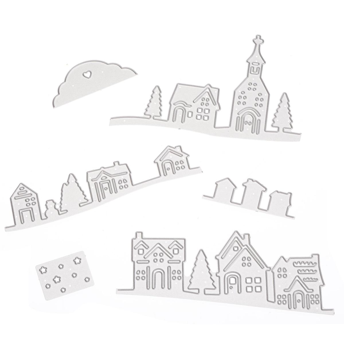 Village church Metal Cutting Dies Stencils For DIY Scrapbooking Paper Card