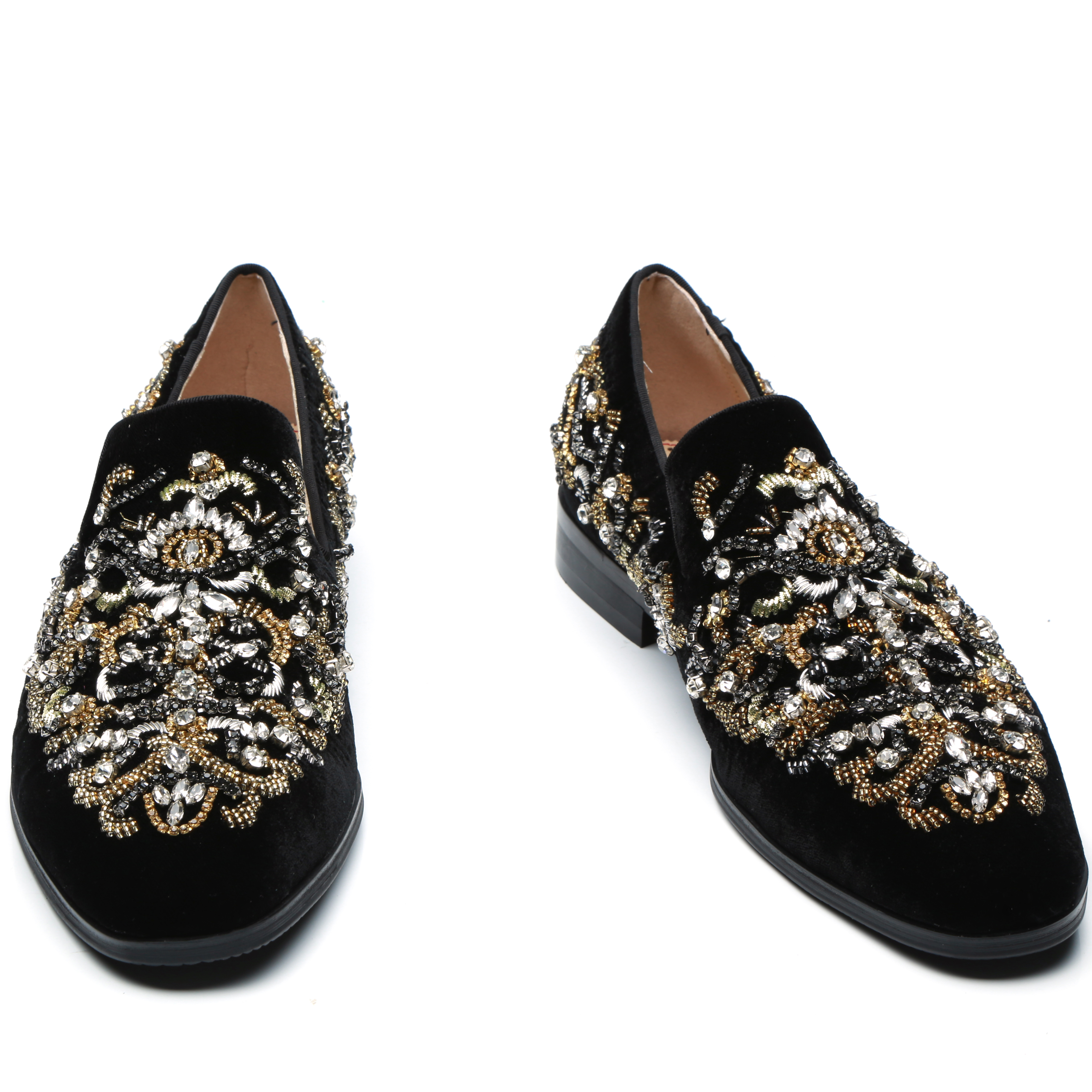 Luxury Black Rhinestone Floral Stud Embroidery Men Shoes Fashion Slip-on Loafer Crystal Men Smoking Party Shoes