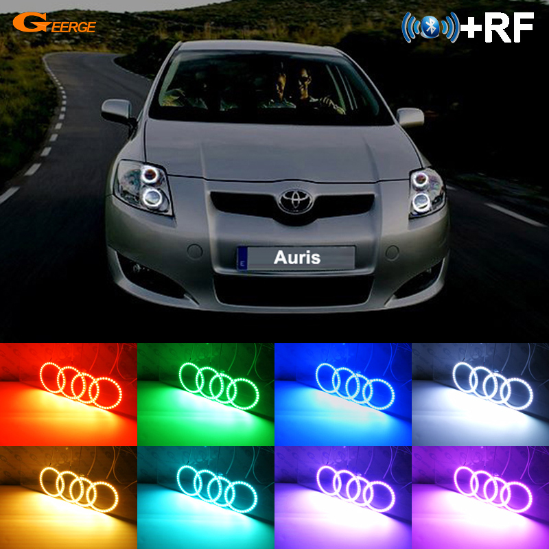 For Toyota Auris 2007 2008 2009 Europe RF Bluetooth Controller Multi-Color Ultra Bright RGB LED Angel Eyes Halo Ring Kit