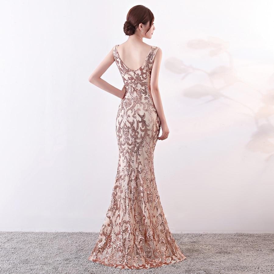 Women Elegant Formal Dresses Evening Gown Dress V Neck Open Back Mermaid Split Long Sequin Party Prom Dresses in Evening Dresses from Weddings Events