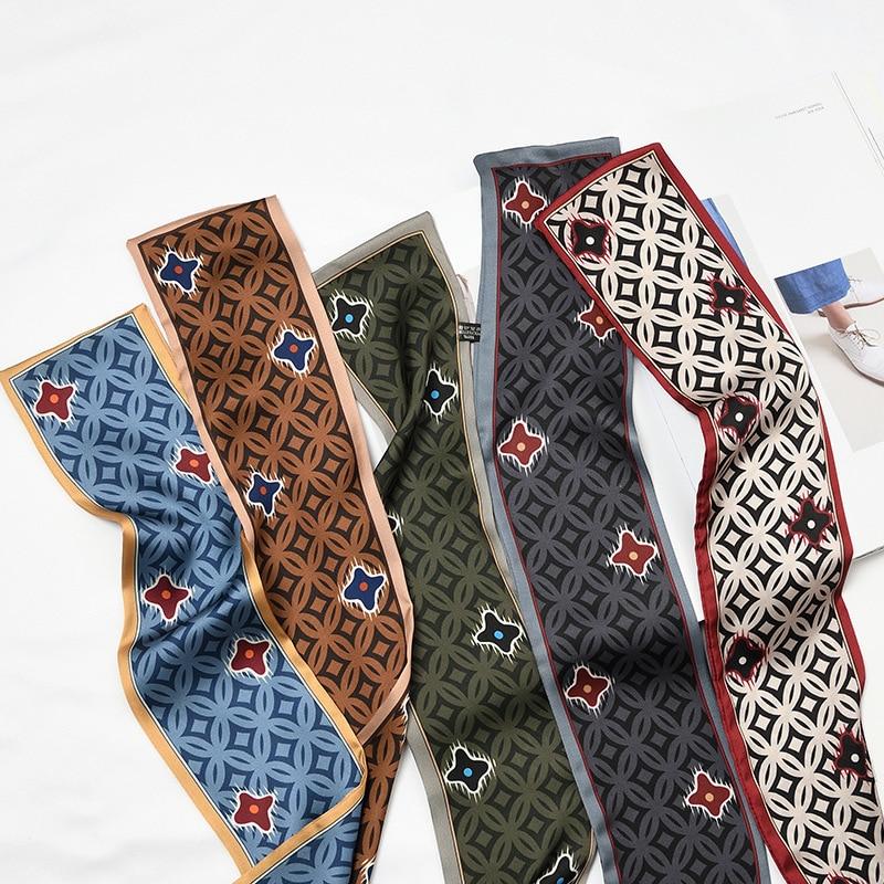 Clover Luxury Hair Bag Scarf 9.5x98cm Skinny Scarf Feel Silk Head-Neck Tie Vintage Women Satin Elegant Leopard Spring Autumn