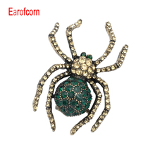 цена на Earofcorn  Choose  Rhinestone Spider  Brooches for Women Fashion Gun-black Plated Insect Brooch Pin Exquisite Jewelry Gift
