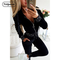 Pickyourlook Women Clothing Set Long Sleeve Black Pearl Sequins Zipper Ladies Outfit Set Autumn Winter Fashion Female Clothes