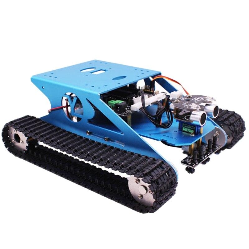 Kit de réservoir de voiture Robot pour Arduino châssis de réservoir intelligent Programmable véhicule Robot, apprentissage intelligent et tige jouet éducatif pour enfants Super
