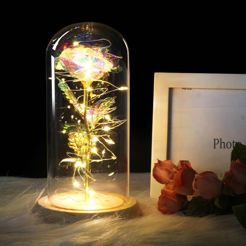 ホットフラスコ美女と野獣でローズ金色レッドローズ LED ライトガラス用ウェディングパーティーの母の日ギフト