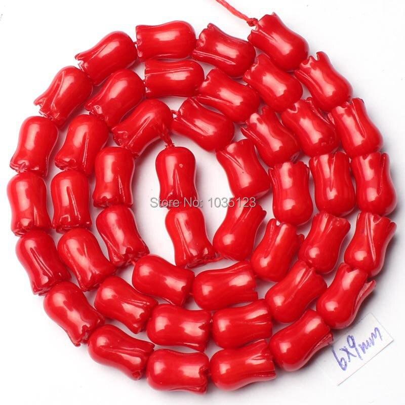 Alta qualidade 6x9mm coral vermelho liso natural esculpida flor forma solta grânulos strand 15