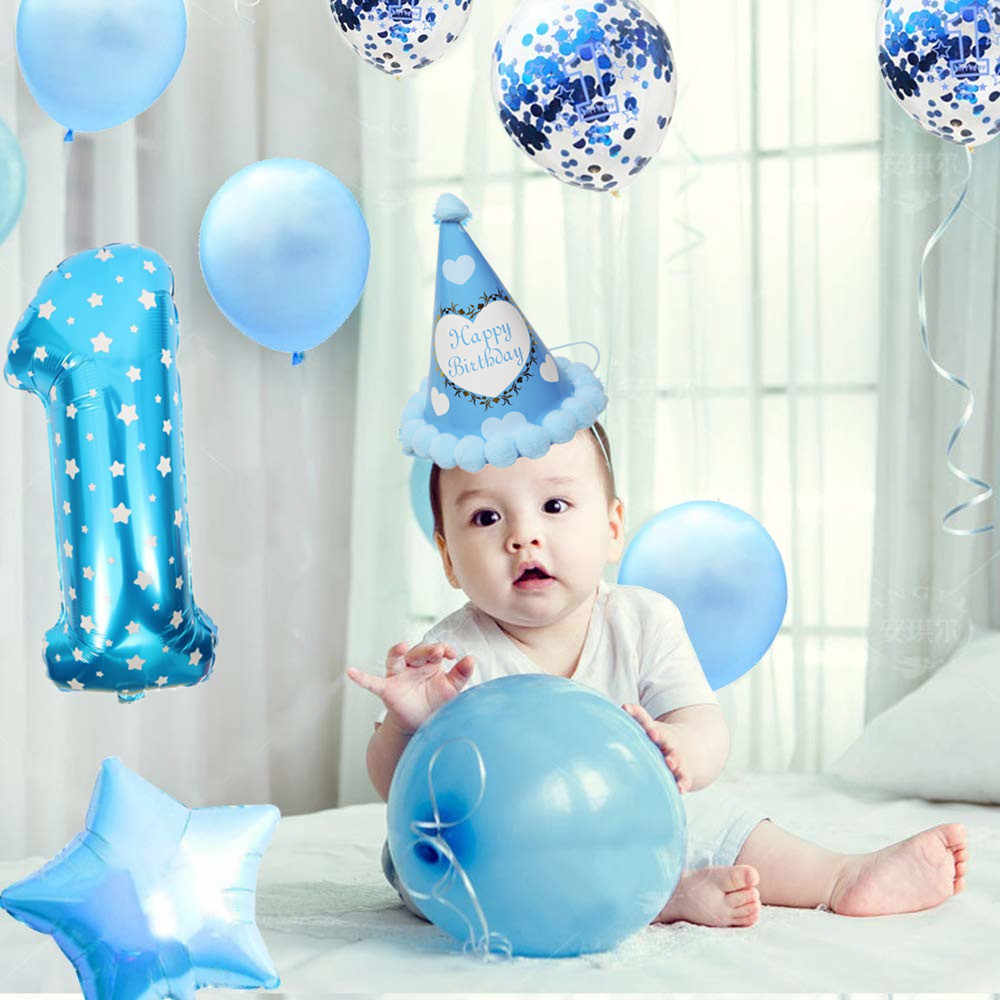 ZLJQ 1st Birthday Decoration For Baby Boy First Balloon Party Supplies Kit