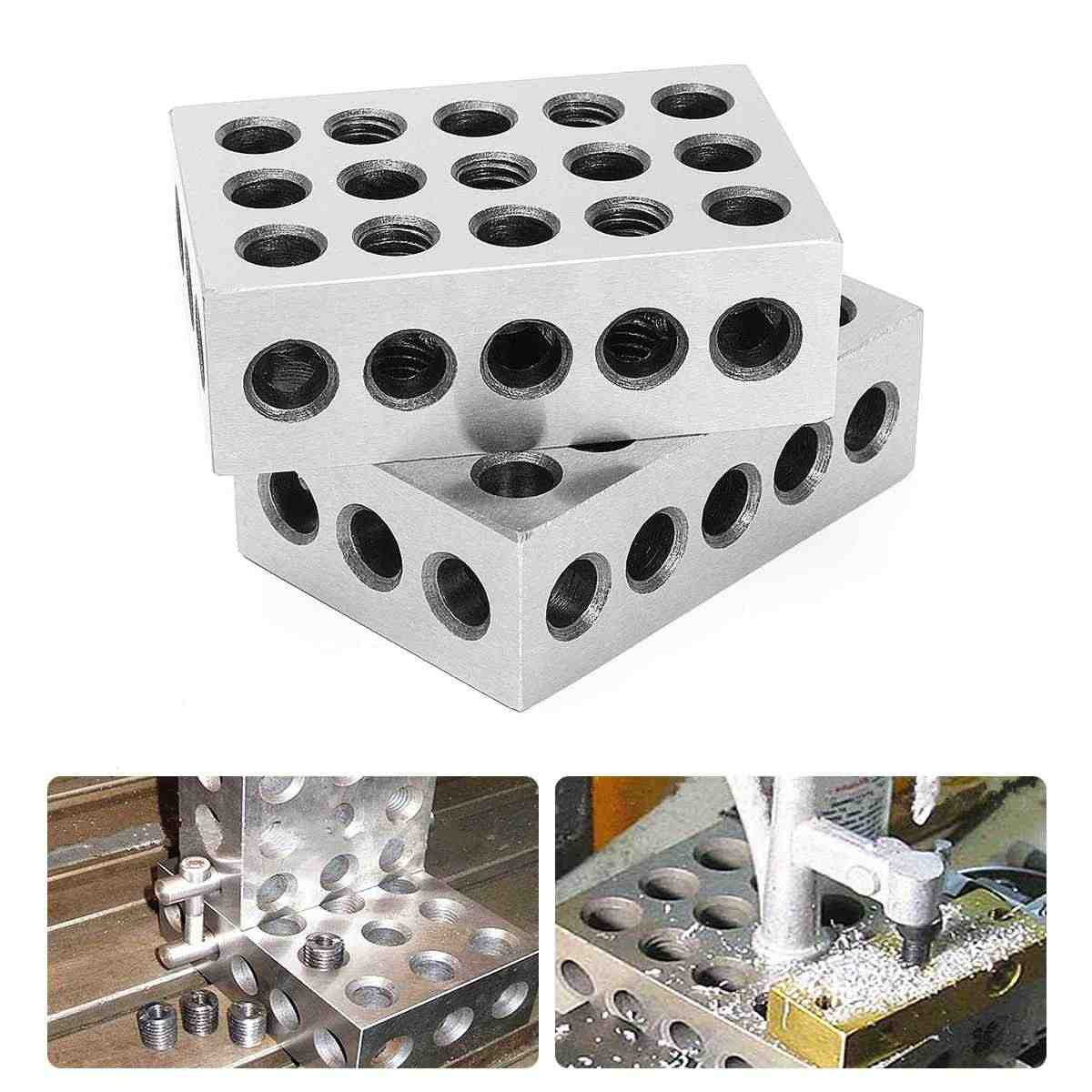 "2Pcs Precision Blocks Hardened Steel 1-2-3 Blocks 0.0001"" Precision Matched Machinist 123 Milling Tool 23 Holes"