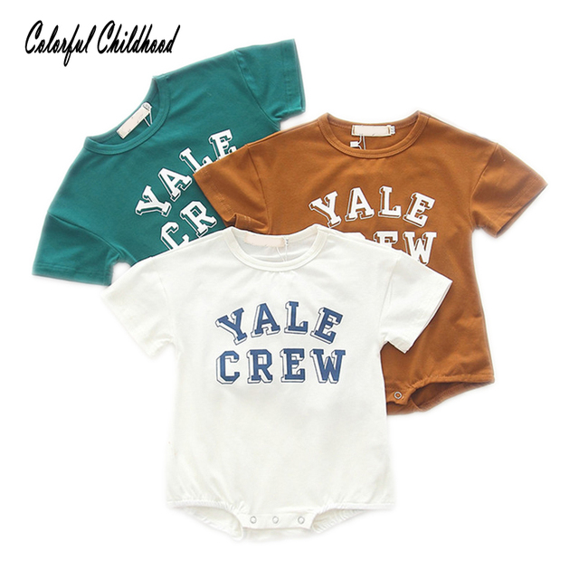 10cb68245428 Baby summer Romper letter design short sleeve cotton jumpsuit for ...