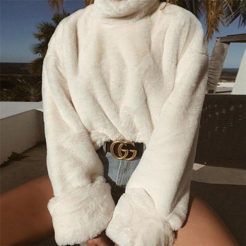 2018 automne hiver nouveau femmes fausse fourrure Hoodies Zipper col montant à manches longues épais Sweatshirts lâche décontracté Pluse hauts