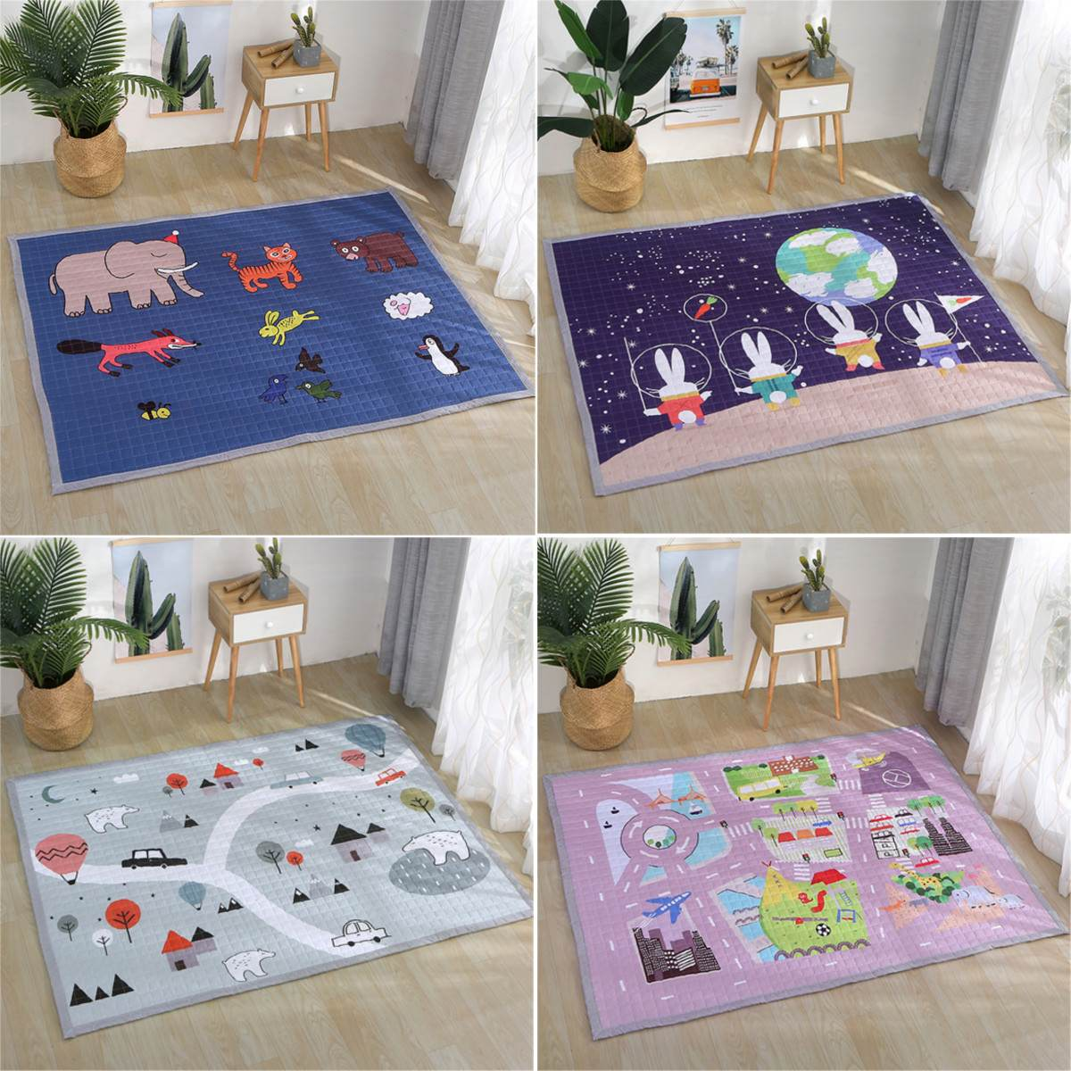 Polyester Baby Kids Game Activity Playmats Crawling Gym Mat Carpet Non-Slip Room Rug Foldable Cartoon Fitness Yoga Mat 195X145cmPolyester Baby Kids Game Activity Playmats Crawling Gym Mat Carpet Non-Slip Room Rug Foldable Cartoon Fitness Yoga Mat 195X145cm