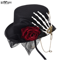 Vintage Retro Women Fedora Steampunk Rose Lace Skeleton Hand Top Hat Gothic Party Gears Punk Hats Accessory