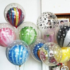 Image 3 - Ballons en Latex pour anniversaire, 10 pièces, 12 pouces, étoile transparente, noire et blanche, ballons à Air, jouet de décoration pour enfants