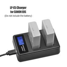 Puerto de Carga inteligente para Canon EOS 1000D 500D EOS Kiss, cargador de batería USB con pantalla LCD, LP E5