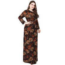 купить Europe Neck Long Sleeve High Printing Dresses For Women Big Sizes Skater Fashion Dress Cotton XL XXL XXXL 4XL 5XL 6XL по цене 2151.71 рублей