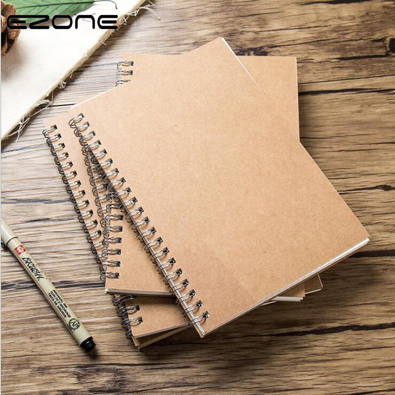 EZONE 16/32K Coil Kraft Paper Notebook Sketchbook Grid Square Line Paper Blank Pages Notebook Student Exercise Book 100 Pages