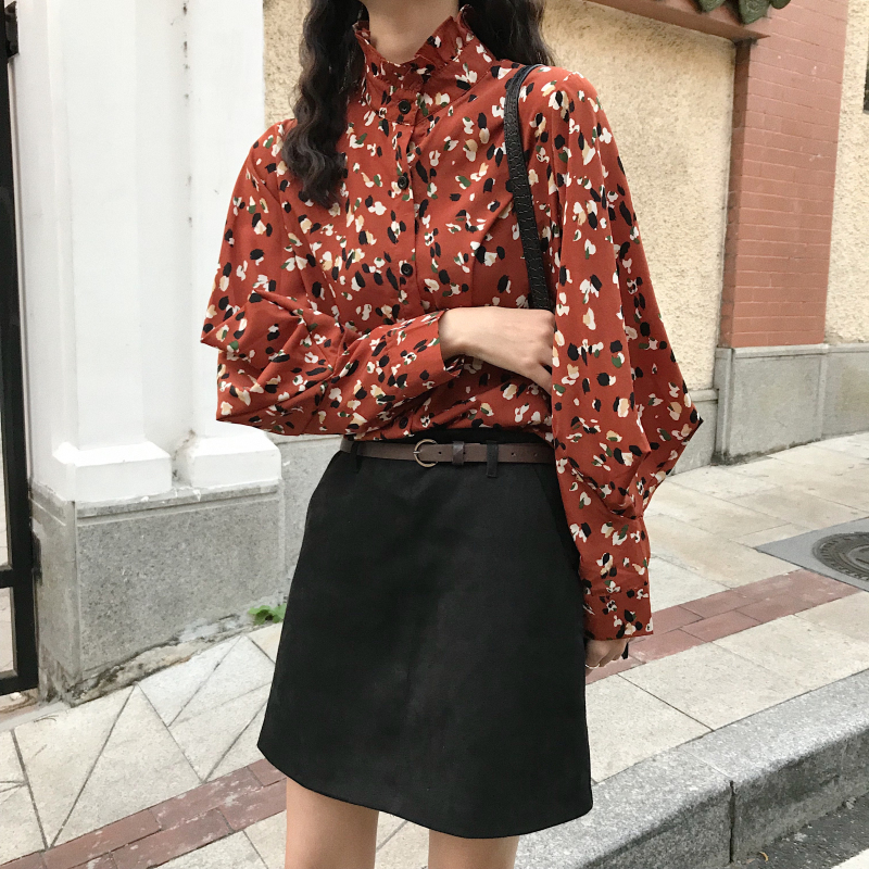 2019 new Floral print stand collar lantern sleeve   blouse     shirt   women Casual chiffon   blouse   Elegant spring summer   blouse   fashion