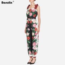 купить Fashion Runway Designer Summer Rompers Women's Spaghetti Stripe Bow Tie Rose Floral Print Loose Elegant Jumpsuit with Belt по цене 1859.5 рублей