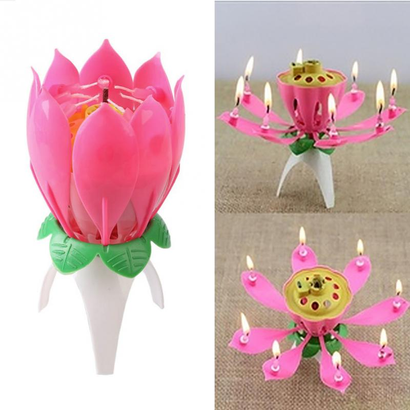 1PC Beautiful Blossom Lotus Flower Candle Birthday Party Cake Topper Rotating Candles Decoration In Holders From Home Garden On Aliexpress