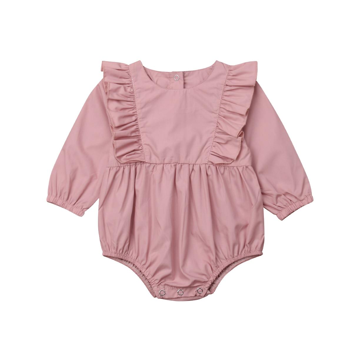 0-24 M Leuke Pasgeboren Baby Meisje Lange Mouw Ruches Romper Jumpsuit Speelpakje Outfits Babykleertjes Geschikt Voor Mannen, Vrouwen En Kinderen