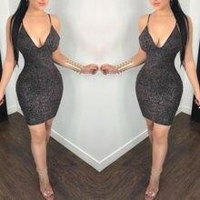 US Women Backless V Neck Bandage Bodycon Evening Party Club Mini Dress