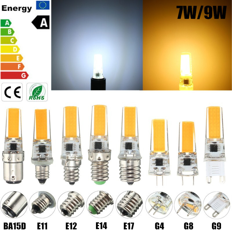 Dimmable 7W E12 E11 E17 G8 BA15D E14 G4 G9 LED Bulb COB Chandelier Spot Light White Warm White