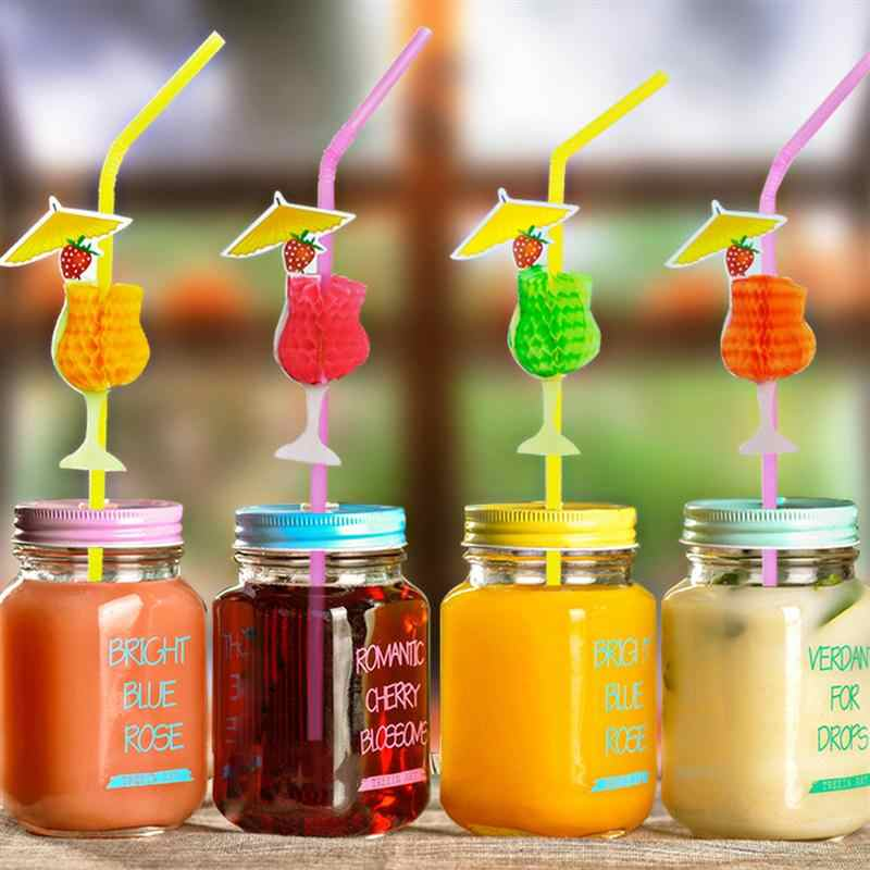 30pcs Hawaii Holiday Party Straw Honeycomb Goblet Party Straw Drinking Decoration Drinking Sucker Party Suppliers
