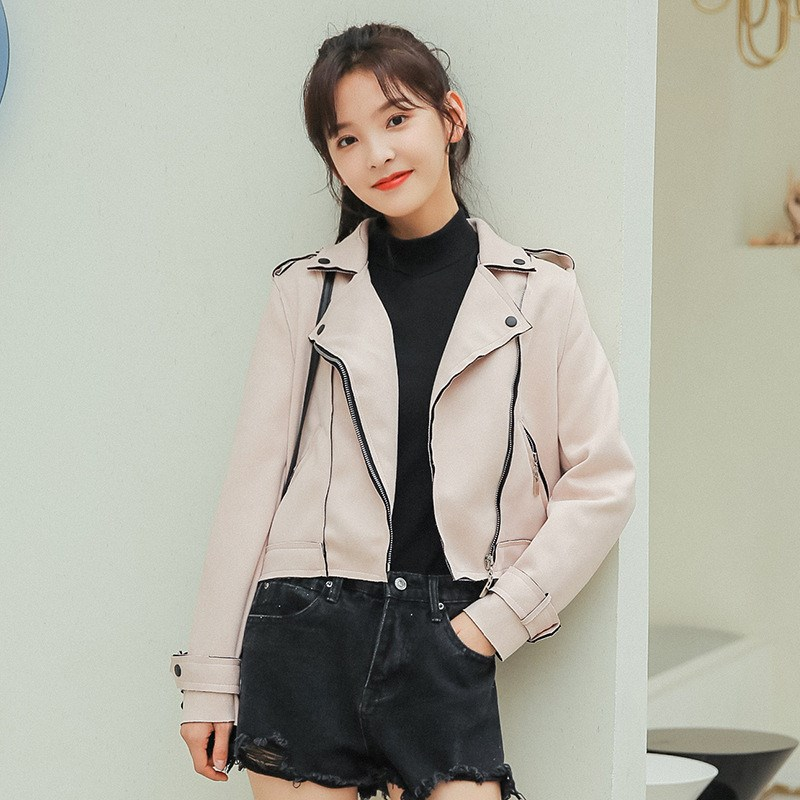 2018 Autumn Casual Turndown Neck PU   Leather   Jacket Faux Soft   Suede   Coat Slim Zipper Motorcycle Jackets