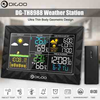 Colorful Large Screen Weather Station Sunrise Sunset Display Temperature Humidity Sensor Outdoor Indoor Thermometer Hygrometer - DISCOUNT ITEM  47% OFF All Category
