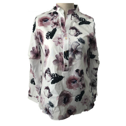 Fashion Floral Print OL Women Ladies Shirt Blouse Casual Long Sleeve V Neck Flower Top Shirts Blouses Clothing