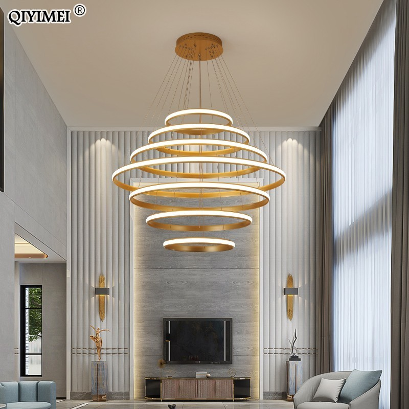 New Modern LED pendant lights living room dining Black White golden coffee Rings aluminum body ceiling mounted indoor lamps deNew Modern LED pendant lights living room dining Black White golden coffee Rings aluminum body ceiling mounted indoor lamps de