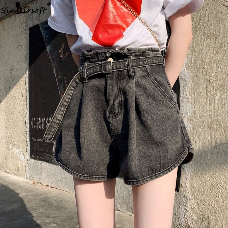 Women 39 s High Sashes Waist Soild Denim Shorts Vintage Loose Belted Hot Female Streetwear Jeans Shorts Summer 2019 New Arrival in Shorts from Women 39 s Clothing