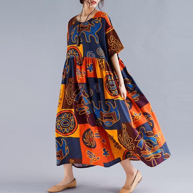 Plus Size Ethnic Vintage Print Dress Women Summer Long Cotton Linen Plaid Dress Casual Loose Ladies Dresses 4XL 5XL 6XL 2020 New 4