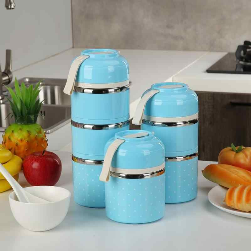 Portable Thermal Lunch Box Healthy Material Stainless Steel Dot Design Leak-proof Student Picnic Holder School Food Container