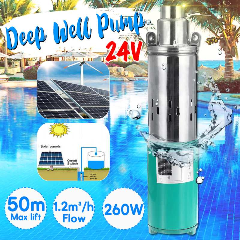 Solar Water Pump Max Lift 50m 24V 260W 1200L h Deep Well Pump DC Screw Submersible