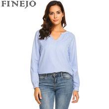 купить Women Blouse Fashion Spring Autumn Summer Casual V-Neck Long Sleeve Striped Pullover Loose Blouse Tops дешево