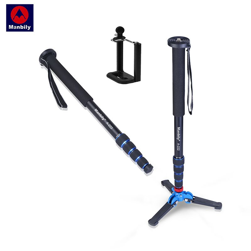 Manbily A-222+M-1 Base 1650mm Alumninum Camera Unipod Monopod Flip Lock W/3 Legs Base Tripod Stand For Canon Nikon DSLR & Phone