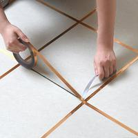 Gold, Silver Seam Line Tile Self-adhesion Home Waterproof Floor Sticker Bathroom Decor Waterproof 0.5cm/1cm slipper