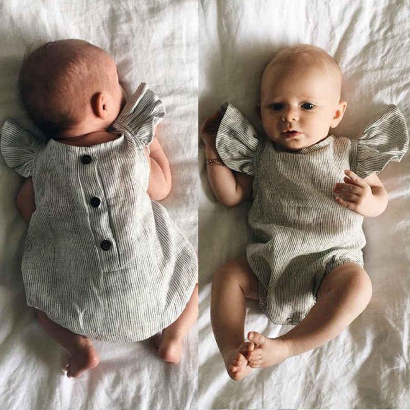 2019 Thương Hiệu New Bé Sơ Sinh Cô Gái Quần Áo Cotton Sọc Romper Jumpsuit Trang Phục Mùa Hè