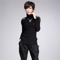 #1466 Autumn Winter Epaulet Rivet Turtleneck Sweater Slim Knitwear Women Sweaters And Pullovers Pull Femme Slim Knitted Tops