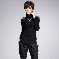 #1467 Autumn Winter Epaulet Rivet Turtleneck Sweater Slim Knitwear Women Sweaters And Pullovers Pull Femme Slim Knitted Tops