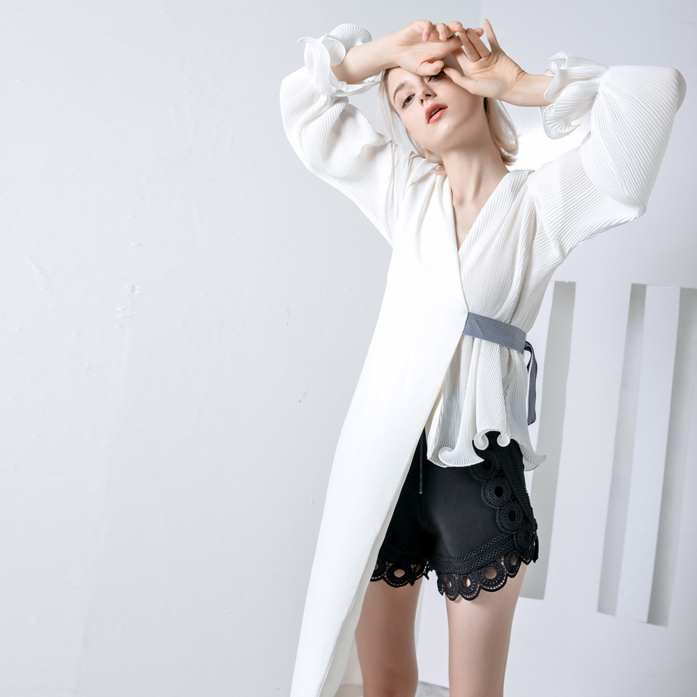 Blanco Superior 2019 Blusas Manga Irregular negro Mujer Black Larga Gasa Volantes Primavera Elegante white Long Para De Hqcd6P