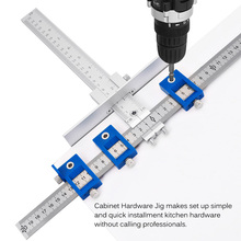 Hot Woodworking Hole Drill Punch Positioner Guide Locator Jig Joinery System Kit Aluminium Alloy Wood Working DIY Tool