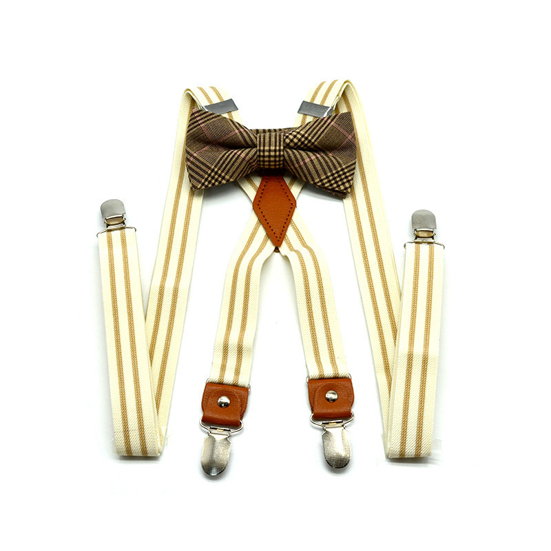 2019 High Quality Adult Four Clip 2.5cm Striped Strap Clip + Bow Tie Suit Unisex Trousers Suspenders