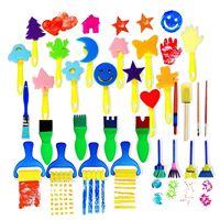 30 pçs crianças esponja pintura pincéis ferramentas de desenho para crianças pintura precoce artes artesanato DIY SCLL|Pincéis de pintura| |  -